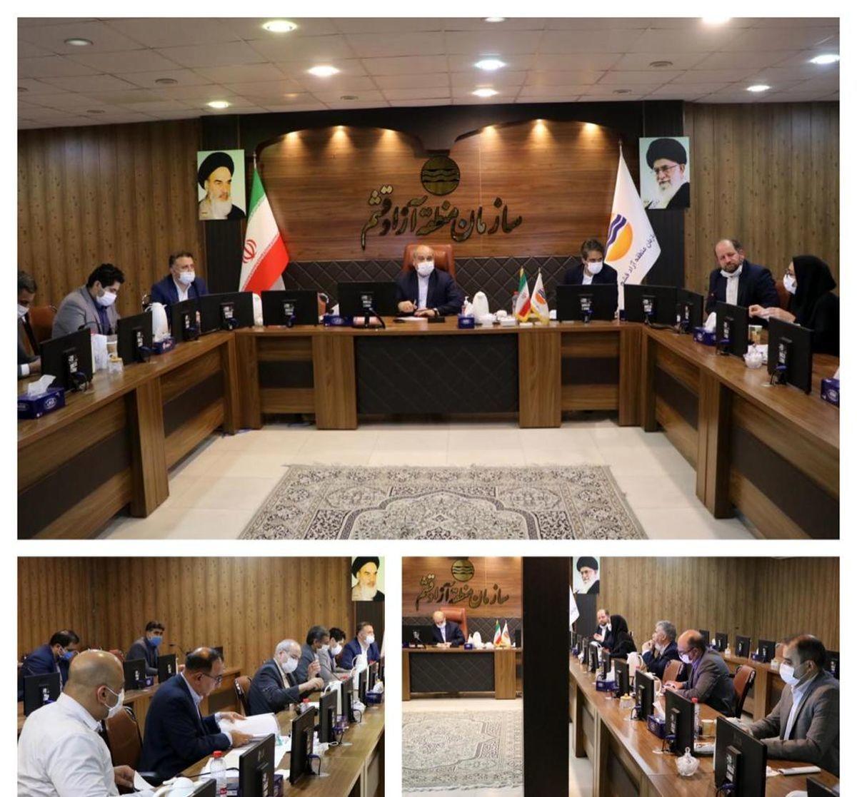 جلسه بررسی پروژه های عمرانی سازمان منطقه آزاد قشم (صحن بوستان) برگزار شد